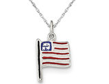Small Polished Enamel American Flag Pendant Necklace in Sterling Silver