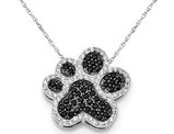Black and White Synthetic Cubic Zirconia Paw Print Charm Pendant Necklace in Sterling Silver