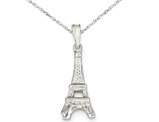 Eiffel Tower Pendant Necklace in Sterling Silver with Chain