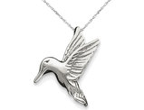 Hummingbird Charm Pendant Necklace in Sterling Silver