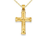 14K Reversible Crucifix Cross Pendant Necklace with Chain