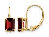 7x5mm 2.50 Carat (ctw) Emerald-Cut Garnet Leverback Earrings in 14K Yellow Gold
