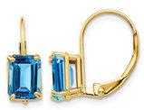2.60 Carat (ctw) Emerald-Cut Natural Swiss Blue Topaz Leverback Earrings in 14K Yellow Gold