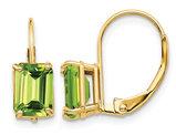 14K Yellow Gold Emerald Cut Peridot Leverback Earrings 2.00 Carat (ctw)