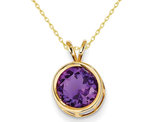 1.70 Carat (ctw) Purple Amethyst Solitaire Pendant Necklace in 14K Yellow Gold with Chain