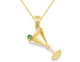 Martini Glass Charm with Synthetic Green Cubic Zirconia Olive Pendant Necklace in 14K Yelllow Gold