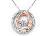 Synthetic Cubic Zirconia Two Tone Open Heart Pendant Necklace in Sterling Silver