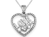 Synthetic Cubic Zirconia Heart Pendant Necklace with LOVE in Sterling Silver