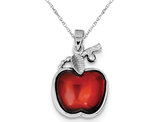 Synthetic Red Cubic Zirconia Cabochon Apple Charm Pendant Necklace in Sterling Silver