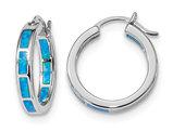 Synthetic Blue Opal In & Out Hoop Earrings in Sterling Silver