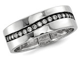 Mens Synthetic Cubic Zirconia Channel Ring in Sterling Silver