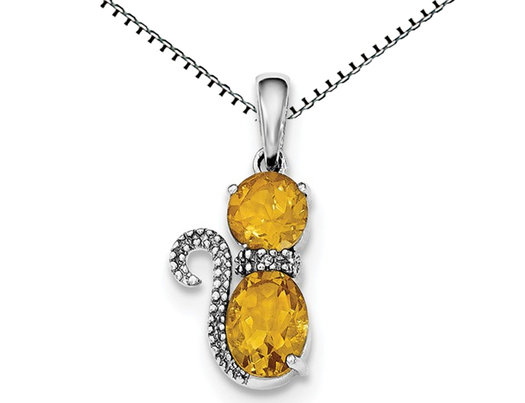 Sterling Silver Citrine Cat Pendant Necklace 1.50 Carat (ctw)  with Chain