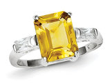 Sterling Silver Polished Rhodium Plated Citrine Ring
