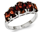 Sterling Silver Five Stone Natural Garnet Ring 4.0 Carat (ctw)