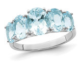Sterling Silver Rhodium Plated 5 Stone Light Aquamarine Ring 3.00 Carat (ctw)