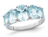 Sterling Silver Rhodium Plated 5 Stone Light Aquamarine Ring 3.00 Carat (ctw)