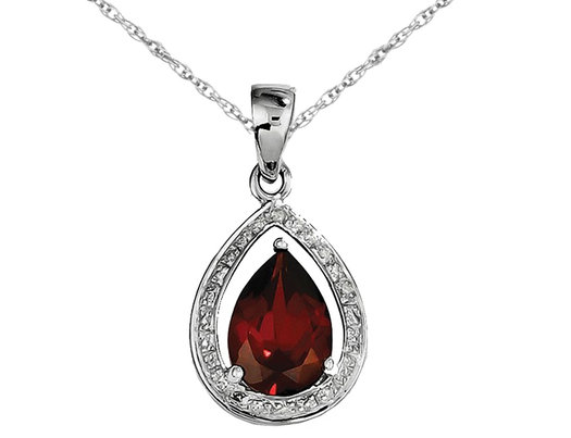 Sterling Silver Rhodium Plated Red Garnet 1.90 Carat (ctw) Drop Pendant Necklace and Chain