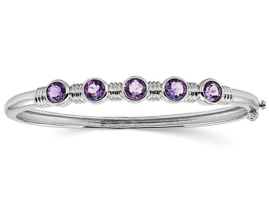 Sterling Silver Amethyst Rhodium Plated Bangle Bracelet (3.00 Carat ctw)