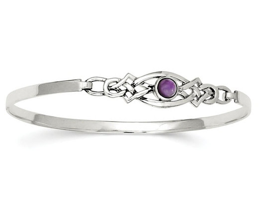 Sterling Silver Purple Amethyst Bangle Bracelet