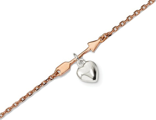 Sterling Silver Rose-Tone Plated Heart and Arrow 7.5 Inch Bracelet