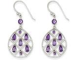 Sterling Silver Amethyst TearDrop Dangle Earrings