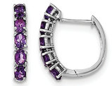 Sterling Silver Amethyst Hinged Hoop Earrings 1.75 Carat (ctw)