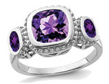 Ladies Amethyst Three Stone Ring 3.00 Carat (ctw) in Sterling Silver