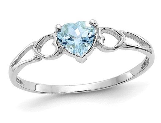 14Kt Gold Genuine Aquamarine Heart Ring
