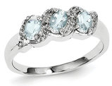 Three Stone Aquamarine Ring 3/5 Carat (ctw) in Sterling Silver