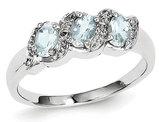 Three Stone Aquamarine Ring 3/5 Carat (ctw) in Sterling Silver