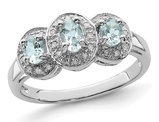 Three Stone Aquamarine Ring 1/2 Carat (ctw) in Sterling Silver