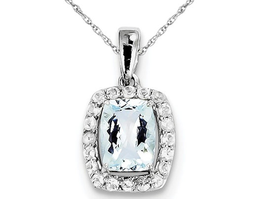 Sterling Silver Aquamarine and White Topaz Pendant Necklace with Chain