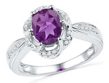Created Amethyst (1 1/2 Carat ctw) and Diamond Ring in 10K White Gold