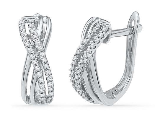 1/5 Carat (ctw J-K, I2-I3) Diamond Crossover Hoop Earrings in 10K White Gold