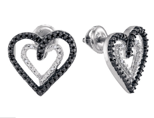 Black Diamond Heart Earrings (1/20 Carat ctw Clarity I2-I3) in Sterling Silver