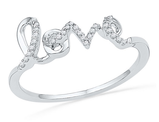 LOVE Promise Ring in 10K White Gold with Diamonds 1/12 Carat (ctw Color J-K Clarity I2-I3)