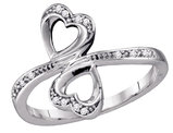 Twin Heart Promise Ring in 10K White Gold with Diamonds 1/20 Carat (ctw Color J-K Clarity I2-I3)