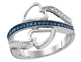 White and Blue 1/10 Carat (ctw I2-I3) Diamond Heart Ring in 10K White Gold