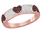 Enhanced Red and White Diamond Heart Promise Ring in 10K Rose Pink Gold 1/5 Carat (ctw Color J-K Clarity I2-I3)
