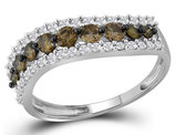 White and Champagne Diamond Ring 3/4 Carat (ctw Clarity I2-I3 Color-J-K) in 10K White Gold