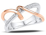 10K White and Rose Gold Spiral Strand Crossover Diamond Ring 1/10 Carat (ctw)