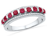 Lab Created Ruby 7/8 Carat (ctw) Band Ring with Diamonds (Clarity I2-I3) in 10K White Gold