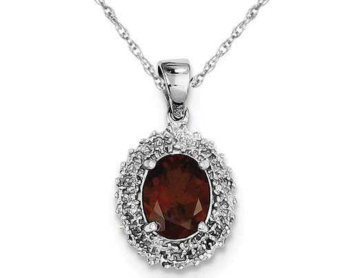 Sterling Silver Red Garnet (1.80 Carat ctw) Drop Pendant Necklace with Chain