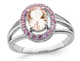 1.00 Carat (ctw) Morganite and Synthetic Pink Sapphires Ring in Sterling Silver