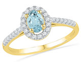 Created Aquamarine Solitaire Ring 3/8 Carat  in 10K Yellow Gold with Diamonds 1/5 Carat (ctw)