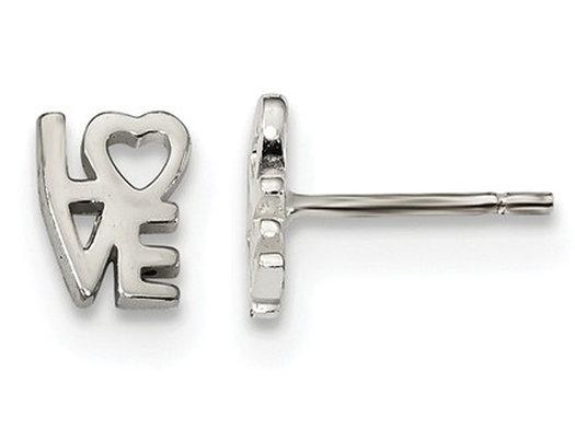 Sterling Silver LOVE Heart Post Earrings