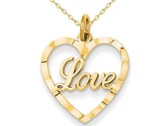 Heart Shaped LOVE Pendant Necklace in 14K Yellow Gold