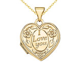 14K Yellow Gold Heart Shaped I Love You Locket Pendant Necklace