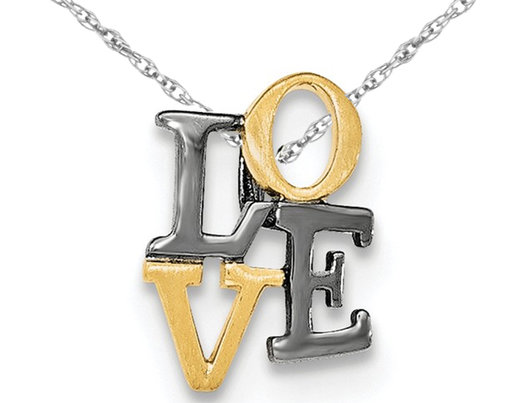 Yellow Gold Plated Sterling Silver LOVE Pendant Necklace with Slide Chain