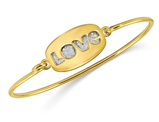 Sterling Silver Yellow Polished Glitter LOVE Bangle Bracelet